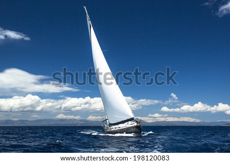 Luxury yachts. Boat in sailing regatta. - stock photo