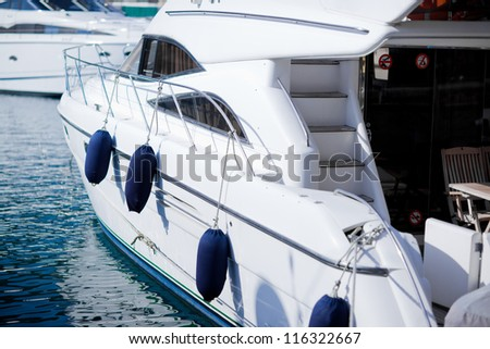 Luxury yachts in port - stock photo