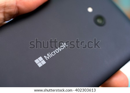 LVIV, UKRAINE - apr 06, 2016:  Microsoft Lumia 640  - great smartphone running on Windows Phone equipped with IPS LCD display in hand - stock photo