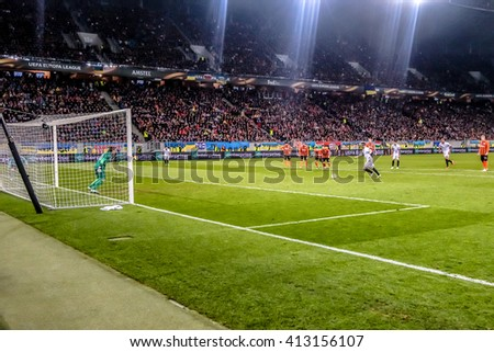 LVIV, UKRAINE - APRIL, 28th - 2016: Kevin Gameiro scored from the penalty spot during the UEFA EUROPE LEAGUE 1-st Semi-Final match against FC Shakhtar at Arena Lviv stadium - stock photo