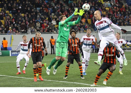 LVIV, UKRAINE - FEBRUARY 17, 2015: Goalkeeper Andriy Pyatov of Shakhtar Donetsk in action during UEFA Champions League game against Bayern Munich at Arena Lviv stadium - stock photo