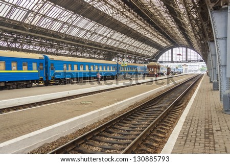 LVIV, UKRAINE - 22 JULY: Interior of main railway station in Lviv   on July 22, 2012 in Lviv.  View on platform of most beautiful old railway station in Ukraine. - stock photo