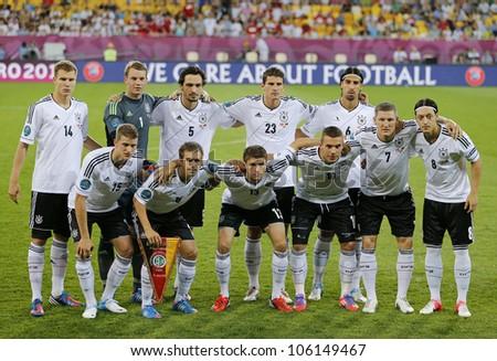 LVIV, UKRAINE - JUNE 17: Germany national football team pose for a group photo before UEFA EURO 2012 game against Denmark on June 17, 2012 in Lviv, Ukraine - stock photo