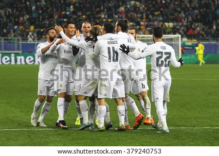 LVIV, UKRAINE - NOVEMBER, 25: FC Real Madrid football players celebrate a goal scored during the UEFA Champions League match between Shakhtar vs Real Madrid on November 25, 2015 in Lviv, Ukraine. - stock photo