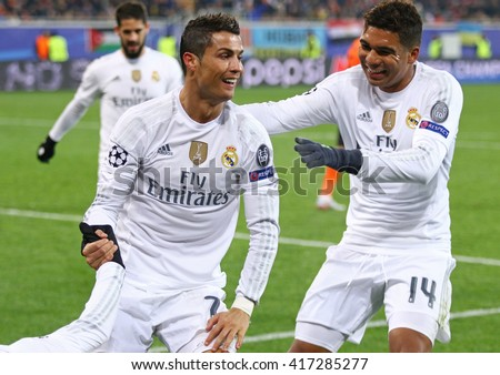 LVIV, UKRAINE - NOVEMBER 25, 2015: Real Madrid players celebrate after scored a goal during UEFA Champions League game against FC Shakhtar Donetsk at Arena Lviv stadium - stock photo