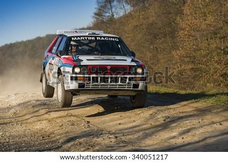 Lviv, Ukraine - November 1, 2015: Serhiy  Chekan's  Lancia Delta  Integrale  (No.14)   competes at the annual Rally Galicia - stock photo