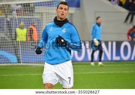 LVIV, UKRAINE - OCT 25: Cristiano Ronaldo trains before the UEFA Champions League match between Shakhtar vs Real Madrid, 25 October 2015, Arena Lviv, Ukraine - stock photo