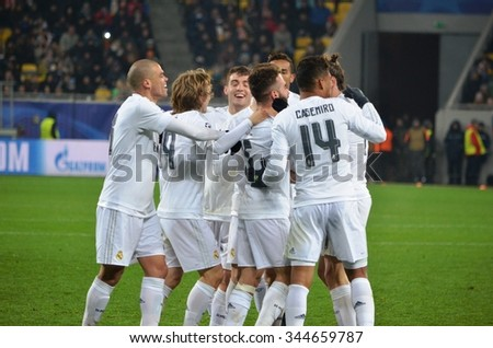 LVIV, UKRAINE - OCT 25: Real Madrid football players celebrate a goal scored during the UEFA Champions League match between Shakhtar vs Real Madrid, 25 October 2015, Arena Lviv, Ukraine - stock photo