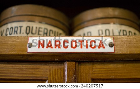 LVIV, UKRAINE SEPTEMBER 15, 2014: photo of narcotics shelf in a pharmacy in Lviv, Ukraine. Narcotics are any psychoactive compound with sleep-inducing properties, especially opiates such as heroin. - stock photo