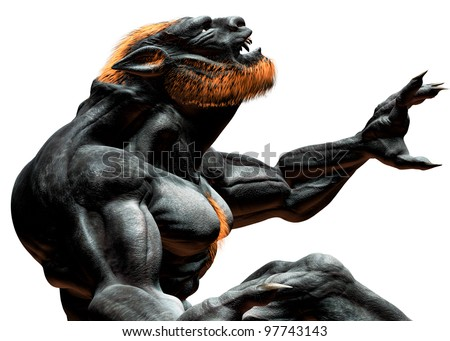 Lycan Werewolf closeup side view leaning back howling. Teeth fangs anf claws showing. Isolated on white background. Illustration - stock photo