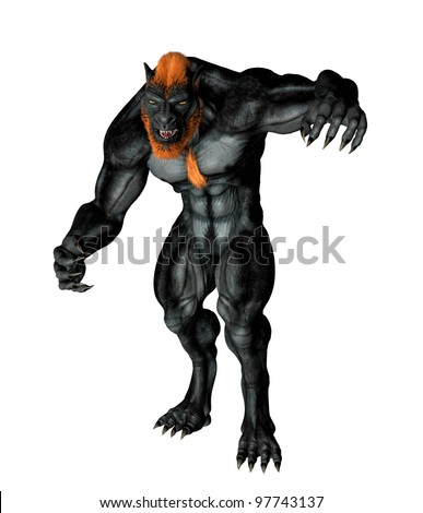 Lycan Werewolf posed for attack. Standing tall claws at ready hunched over in evil snarl. Isolated on white background. - stock photo