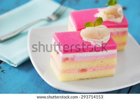 lychee mousse cake - stock photo
