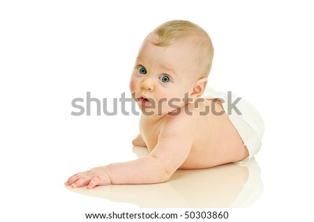 lying six month baby on white background - stock photo