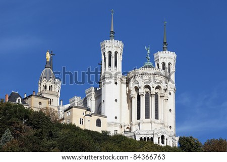 Lyon Cathedral in the big blue sky - stock photo