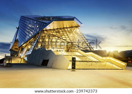 LYON, FRANCE, DECEMBER 22, 2014 : Musee des Confluences just inaugurated. Musee des Confluences is located at the confluence of the Rhone and the Saone rivers and a project of the Confluence district  - stock photo