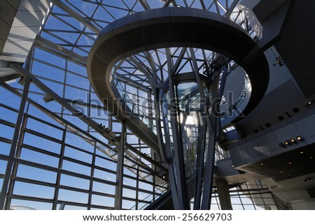 """LYON, FRANCE, February 28, 2015 : """"Musee des Confluences"""" is a science and anthropology museum which opened on 20 December 2014 at  the confluence of Rhone and the Saone rivers. - stock photo"""
