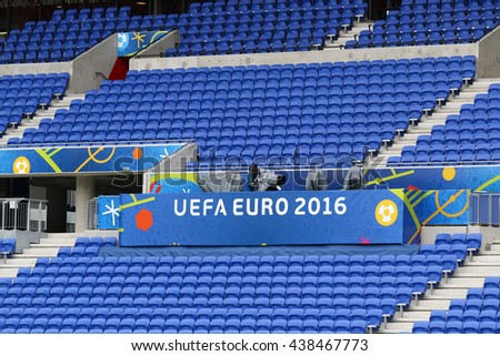 LYON, FRANCE - JUNE 15, 2016: Details of Stade de Lyon during Open training session of Ukraine National Football Team before UEFA EURO 2016 game against N.Ireland. Lyon, France - stock photo