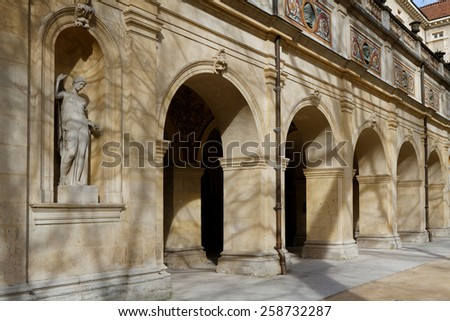LYON, FRANCE, March 7, 2015 : The Museum of Fine Arts of Lyon (Musee des beaux-arts de Lyon) is a municipal museum in Lyon. It is housed near place des Terreaux in a former Benedictine convent. - stock photo