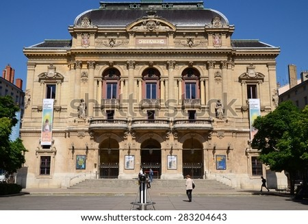 LYON, FRANCE - MAY 29, 2015: Details of facade of the building of Celestins theater and its square in Lyon, France. - stock photo