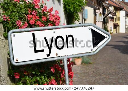 Lyon road sign - stock photo