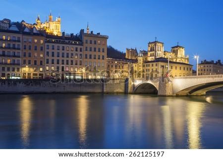 Lyon with Saone river at night, France. - stock photo