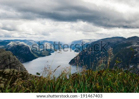 Lysefjord view from Preikestolen cliff in Norway - stock photo