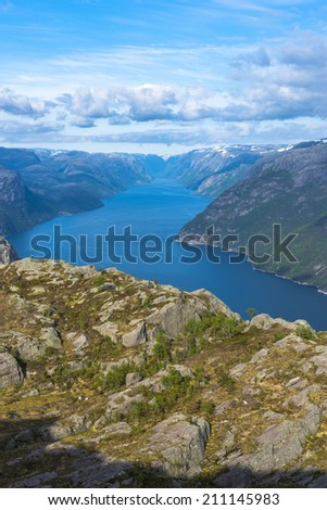 Lysefjorden view in Spring from Pulpit Rock in Norway - stock photo