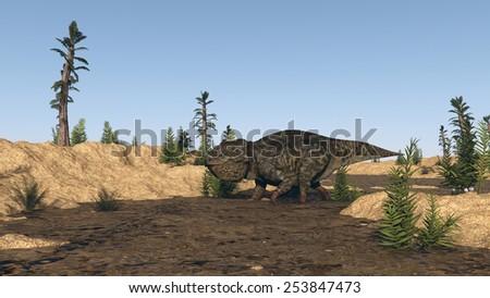lystrosaurus walking in spring - stock photo