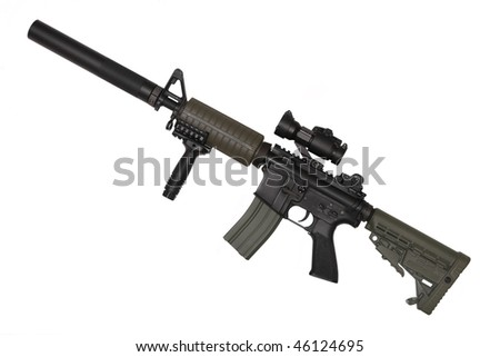 M4A1 custom carbine for paramilitary contractors. Isolated on white background. - stock photo