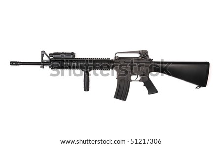 M16A4 RIS assault rifle with ANPEQ and tactical grip. Isolated on a white background. Studio shot. - stock photo