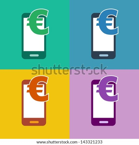 m-commerce flat design smartphone icon for mobile shopping and payment with cellphone and euro currency symbol in 4 different trend colors - stock photo