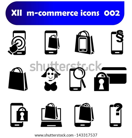 m-commerce sticker set icons 002 with mobile devices as there are smartphones, laptop and tablet pc as well known as pad - stock photo