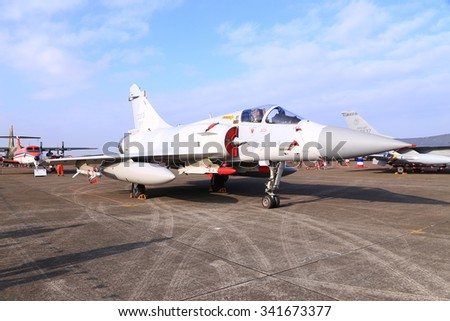 M20005-EI-type single-seat open to tourists tactical combat aircraft Air Force Base in Hsinchu, Taiwan. In November 19, 2015 - stock photo