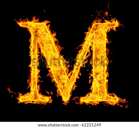 m ,fire letter - stock photo