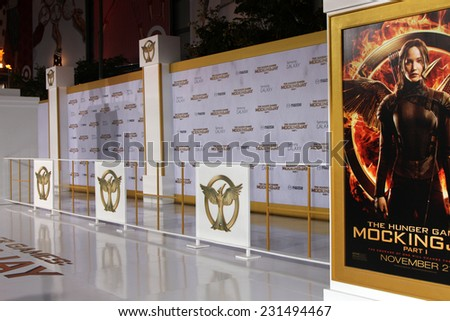 m LOS ANGELES - NOV 17:  Atmosphere at the The Hunger Games: Mockingjay Part 1 Premiere at the Nokia Theater on November 17, 2014 in Los Angeles, CA - stock photo