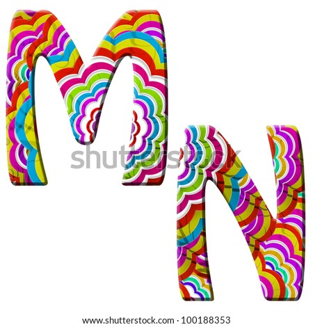 M, N, Colorful wave font isolated on white. - stock photo