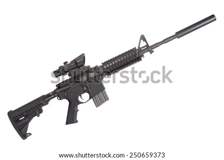 M4 rifle with silencer isolated on a white background - stock photo