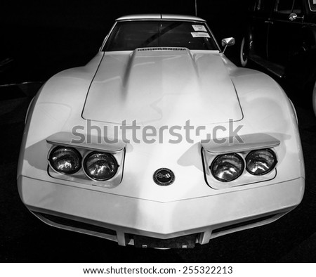 MAASTRICHT, NETHERLANDS - JANUARY 08, 2015: Sports car Chevrolet Corvette (C3) Stingray. Black and white. International Exhibition InterClassics & Topmobiel 2015 - stock photo