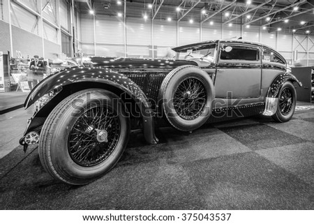 MAASTRICHT, NETHERLANDS - JANUARY 15, 2016: Vintage car Bentley Special Blue Train (built on the chassis Bentley Mark VI), 1951. Black and white. Intern. Exhibition InterClassics & Topmobiel 2016 - stock photo