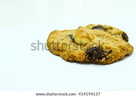 Macadamia Nut and Chocolate Cookie Isolated on the White Background - stock photo