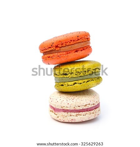 Macaron french dessert  isolated from white background - stock photo