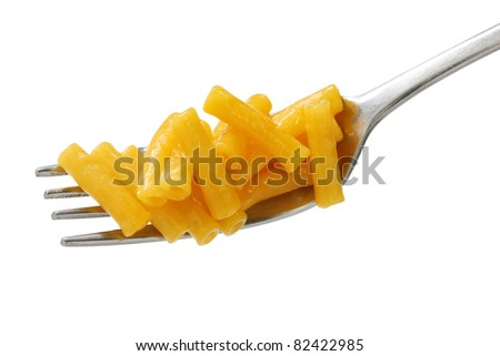 macaroni and cheese on a fork - stock photo
