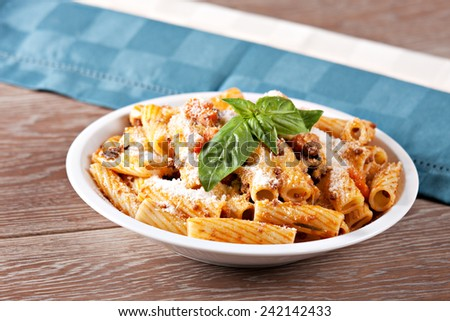 Macaroni Bolognese. Typical Italian dish. - stock photo