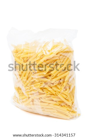 macaroni in the package on a white background - stock photo