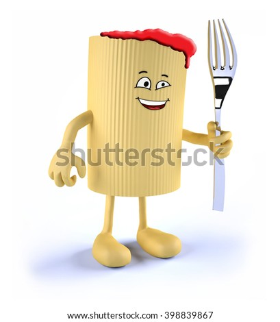 macaroni pasta with face, arms, legs and fork on hand, 3D illustration - stock photo