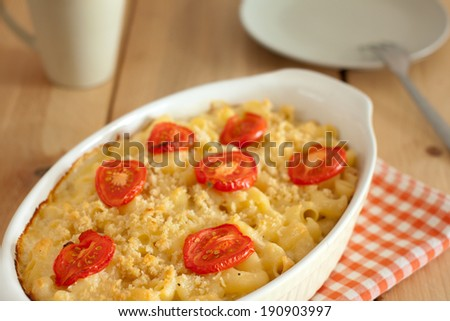 Macaroni with cheese - stock photo