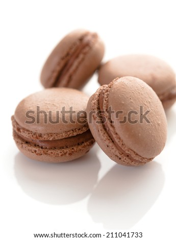 Macarons with chocolate flavor and filling - stock photo