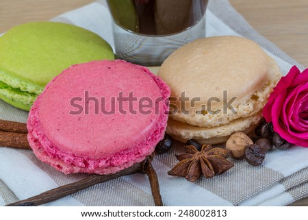 Macaroons delicious with espresso coffee served rose - stock photo