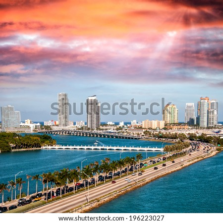 Macarthur Causeway aerial view, Miami. - stock photo