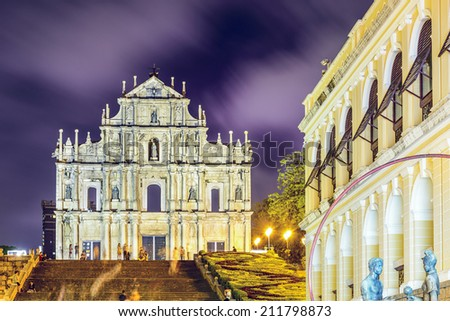 Macau, China at the Ruins of St. Paul Cathedral. - stock photo